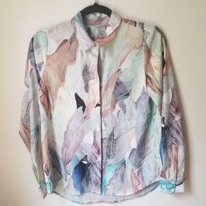 HM abstract watercolor button down